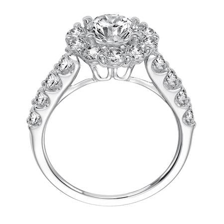 Shared Prong Halo Diamond Engagement Ring