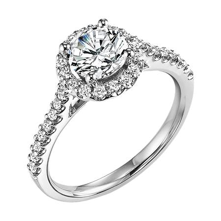 Diamond Prong Set Halo Engagement Ring