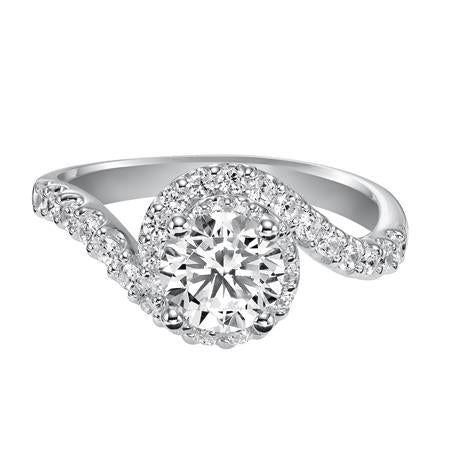 Round Halo Bypass Style Engagement Ring