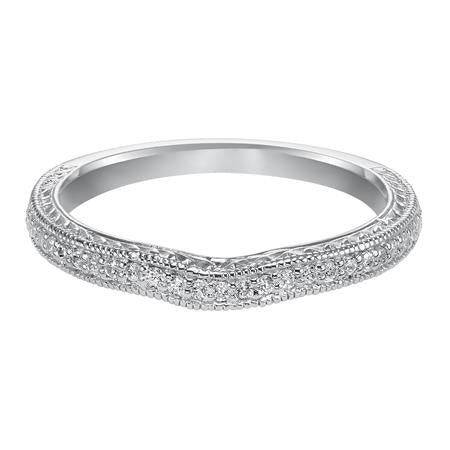 Diamond Milgrain And Engraved Curved Wedding Band.