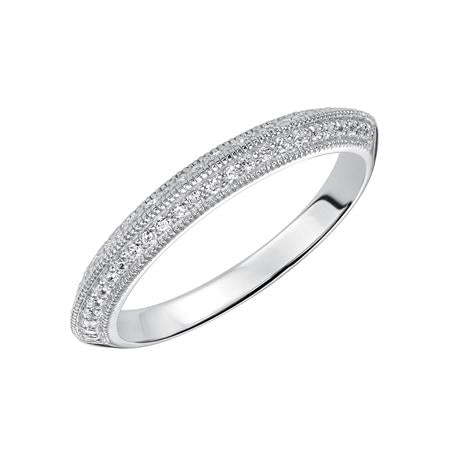 Wedding Band With Knife Edge Profile Milgrain And Diamonds