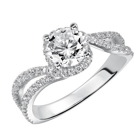 Diamond Split Shank Free Form Engagement Ring