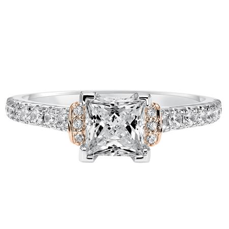 Princess Cut Diamond Solitaire Engagement Ring With Rose Gold Accent