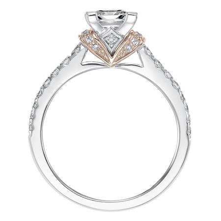 Princess Cut Diamond  Engagement Ring With Rose Gold Accent