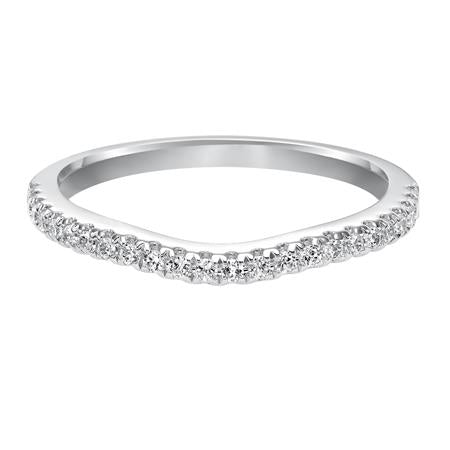 Pave Set Diamond Curved Wedding Band