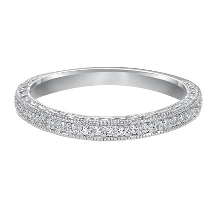 Wedding Band With Bead Set Round Diamonds Milgrain And Engraving