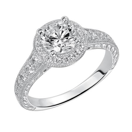 Round Diamond Halo Engagement Ring With Milgrain And Engraving