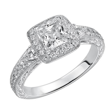 Engraved Design And Milgrain Detail Princess Cut Halo Engagement Ring.