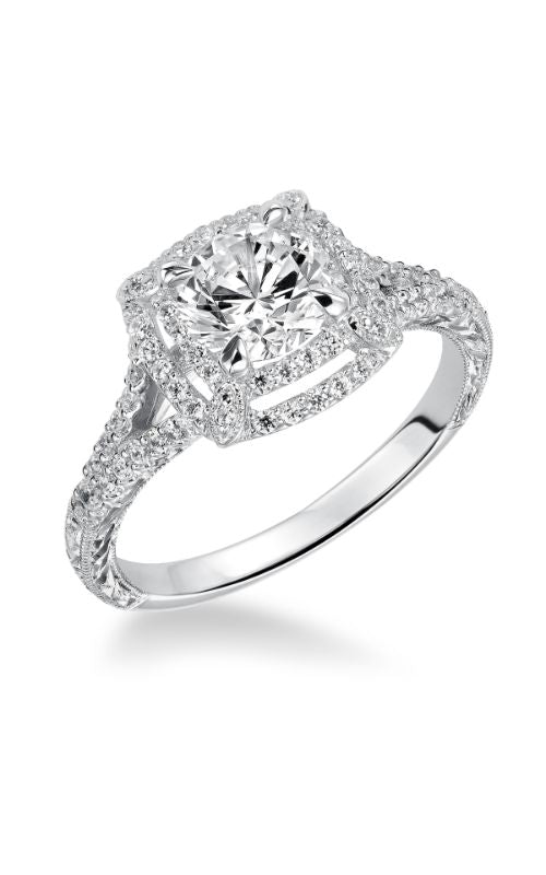 Round Diamond With Double Halo And Split Shank Diamond Band
