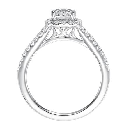 Diamond Prong Set Halo With Split Shank Engagement Ring