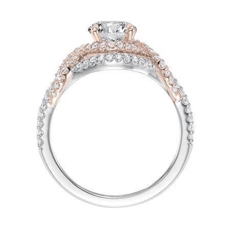 Two Tone Free Form Diamond Halo Engagement Ring
