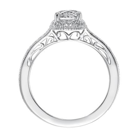 Diamond Prong Set With Filgree Accent Engagement Ring