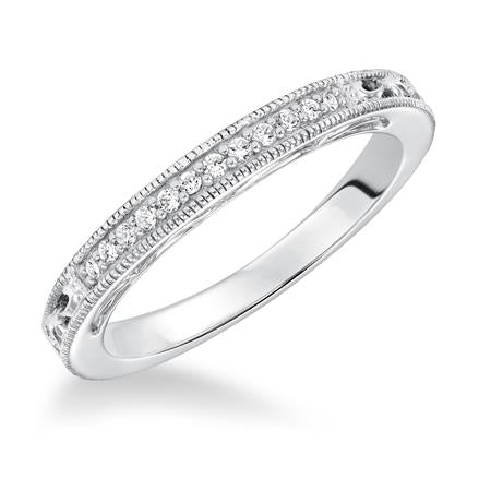Diamond Prong Set With Filgree Accent Wedding Band To Match