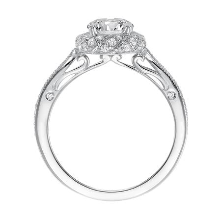 Diamond Prong Set Twisted Halo With Milgrain Engagement Ring