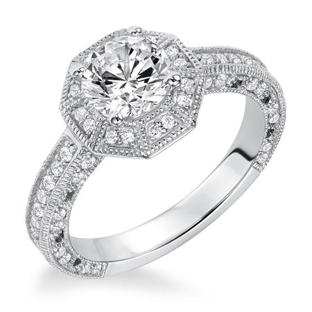 Octagon Shape Diamond Halo With Milgrain Engagement Ring
