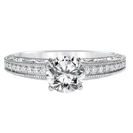 Diamond Prong Set Engraved And Milgrain Engagement Ring
