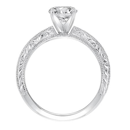 Diamond Prong Set Engraved And Milgrain Engagement Mounting