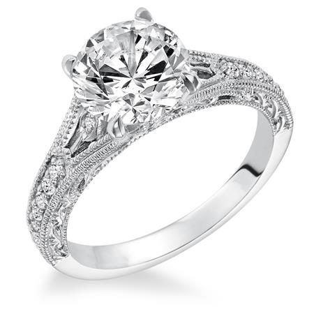 Vintage Style Engraved And Milgrain Engagement Ring A J Jewelers