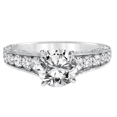 Prong Set Engraved & Milgrain With Graduated Diamond Engagement Ring