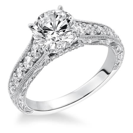 Prong Set Engraved And Milgrain With Graduated Diamond Engagement Ring