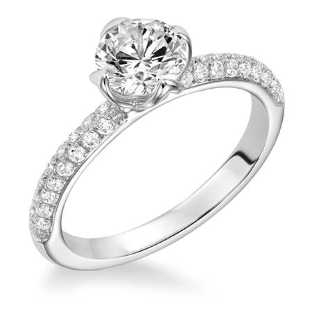 Diamond Pave Solitaire Engagement Ring