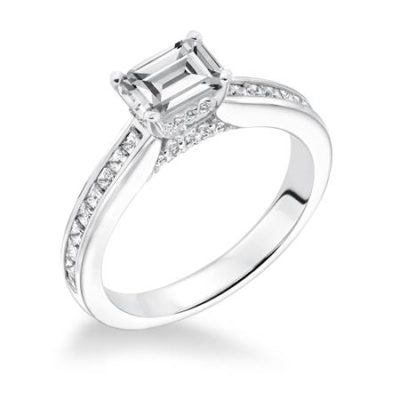 Emerald Cut With Diamond Channel Set Band