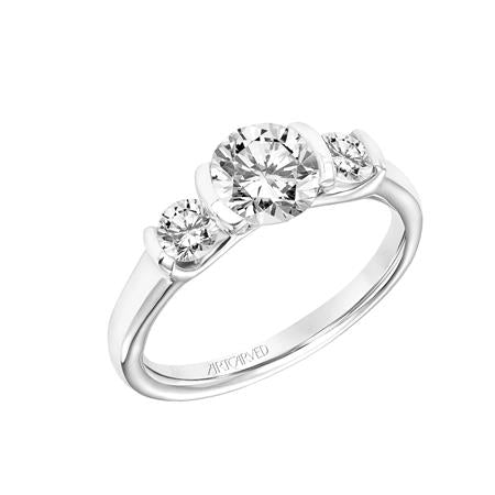 Round Diamond Three Stone Semi Bezel Engagement Ring