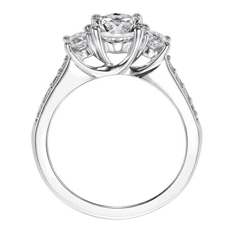 Trellis Three Stone Diamond Engagement Ring