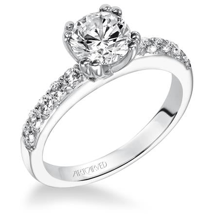 Round Center Stone With Split Prong Head Diamond Engagement Ring