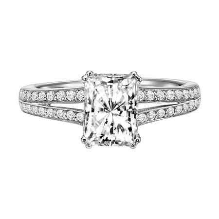 Split Shank Emerald Cut Solitaire Engagement Ring