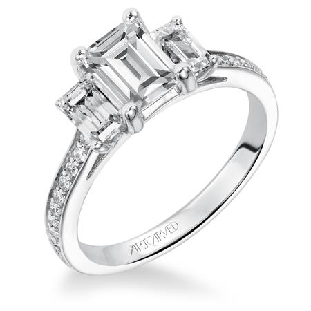 Emerald Cut Three Stone Diamond Engagement Ring