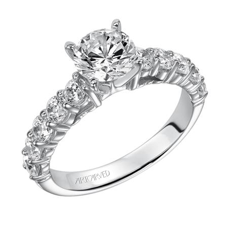 Round Diamond Shared Prong Solitaire Engagement Ring