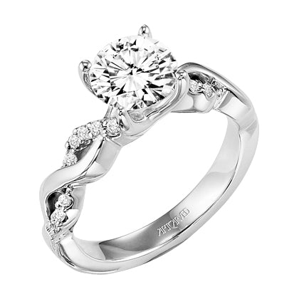 Delicate Split Shank Diamond Halo Engagement Ring