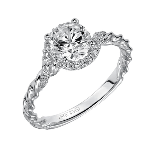 Contemporary Bypass Halo Engagement Ring