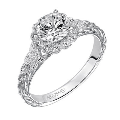 Round Diamond With Scalloped Halo And Fancy Band