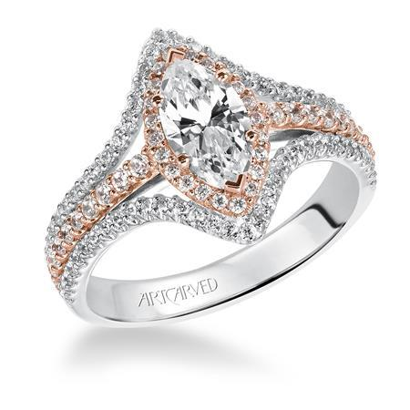 Marquise Two Tone Halo Engagement Ring