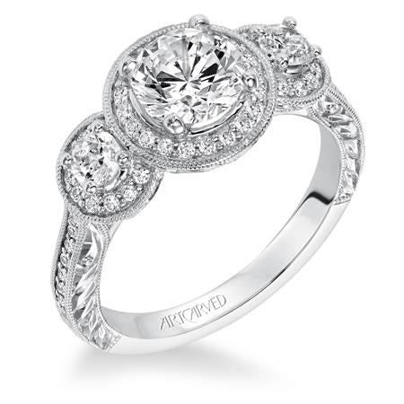 Ophelia Three Stone Round Halo Engagement Ring With Vintage Detail