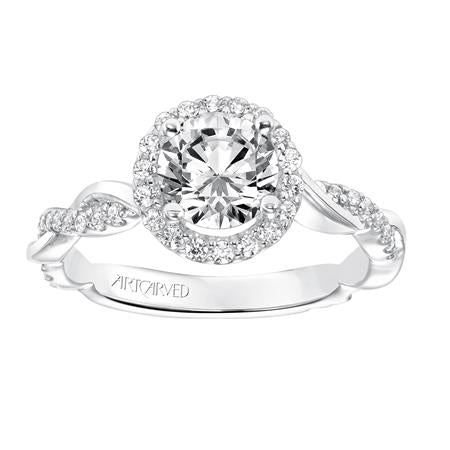 Diamond And Polished Petite Twist Round Halo Engagement Ring