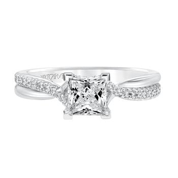 Twisted Diamond Band With Solitaire Diamond