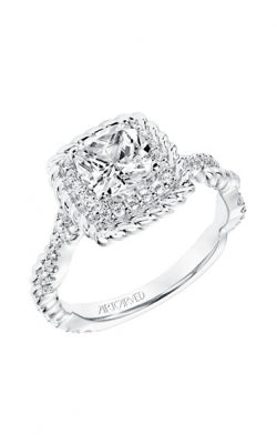 Rope Halo Engagement Ring With Twisted Diamond And Rope Shank