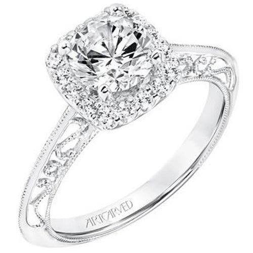 Diamond With Halo And Antique Style Band