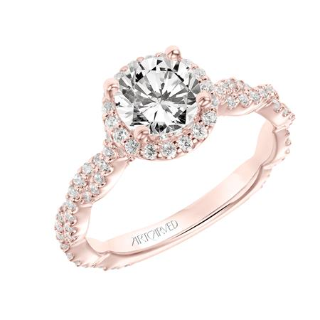 Diamond Engagement Ring With Halo And Twist Band