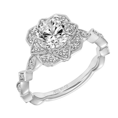 Diamond Floral Vintage Ring With Fancy Band
