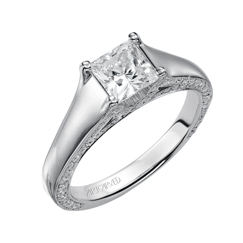 Smooth Shank Side Diamond Accent Princess Cut Engagement Ring