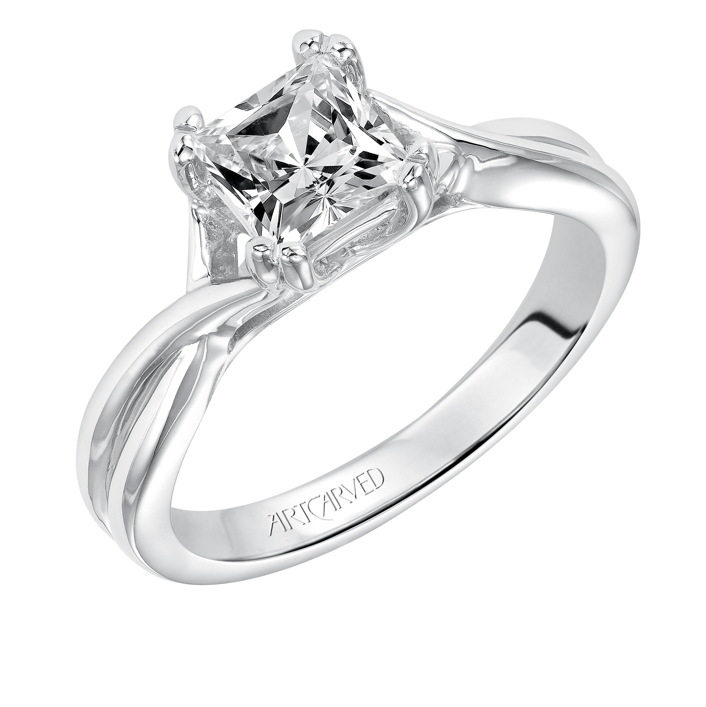 engagement white cut in ascher setting rounded ring with asscher cathedral shank solitaire gold rings half diamond