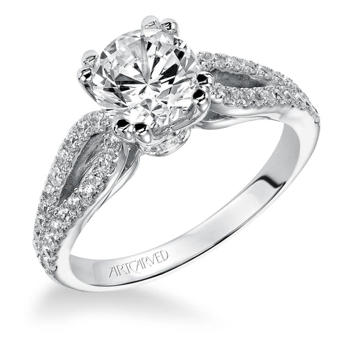 Open Loop Shank Round Diamond Engagement Ring
