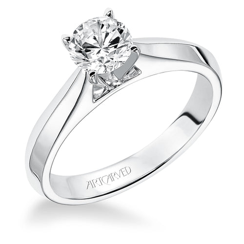Tapered Knife Edge Round Diamond Solitaire Engagement Ring