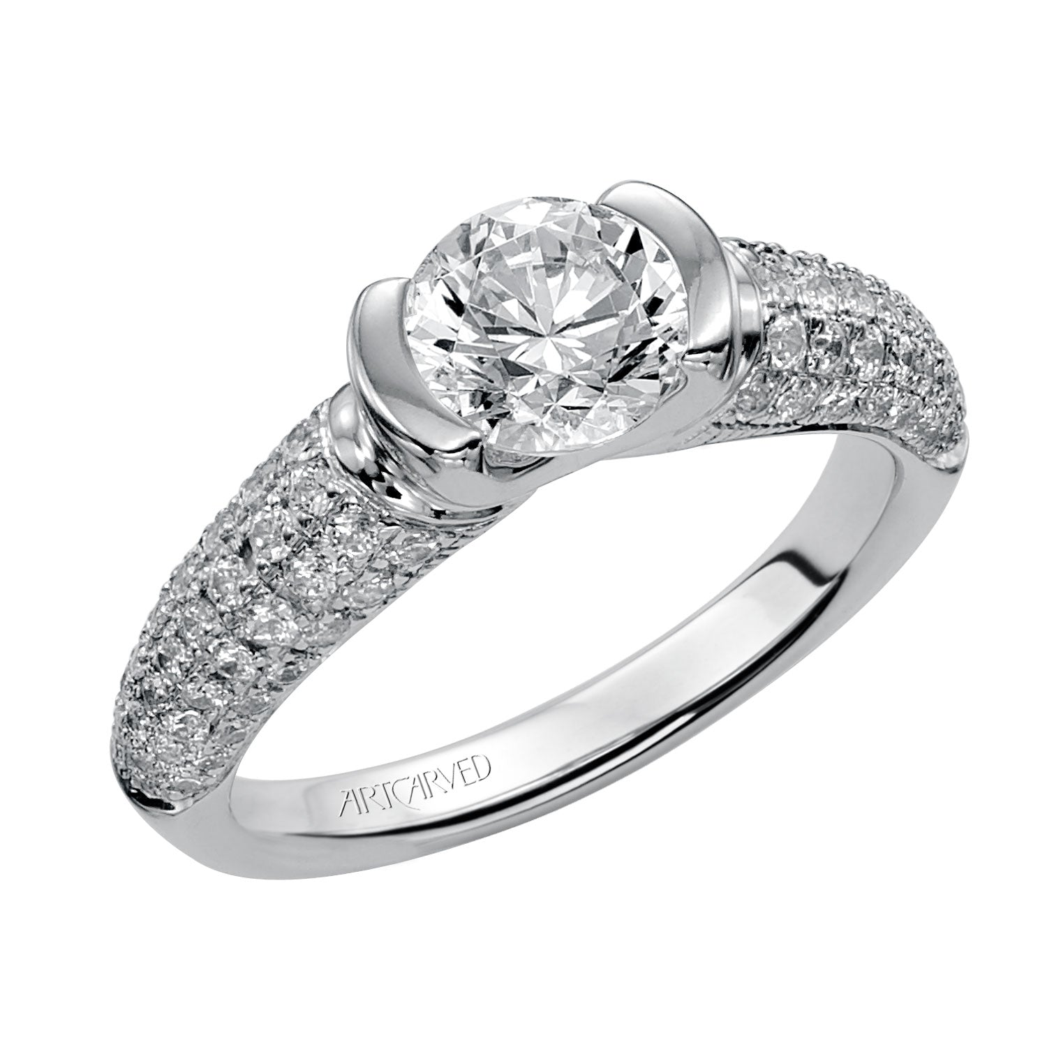 Semi Bezel Round Diamond And Pave Shank Engagement Ring