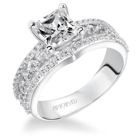 Multi Row Round And Princess Cut Diamond Openwork Engagement Ring