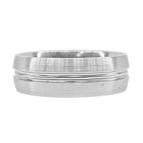 Palladium Satin Finish Carved Wedding Band
